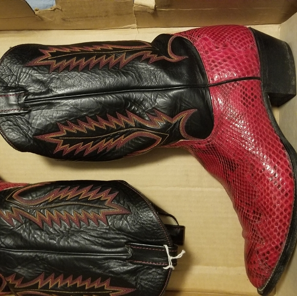 Larry Mahan Other - Vintage Red Snake Cowboy Boots(Well Kept)